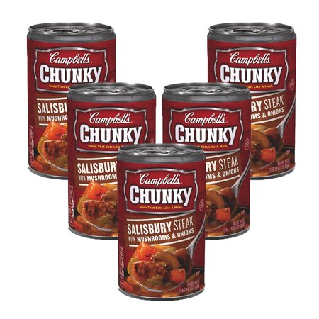 (5 Pack) Campbell's Chunky Salisbury Steak with Mushrooms & Onions Soup, 18.8 oz.