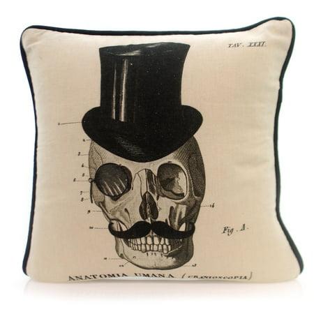 Home Decor ANATOMIA UMANA PILLOW Fabric Halloween Skull Z5555 Glasses - Halloween Home Decor