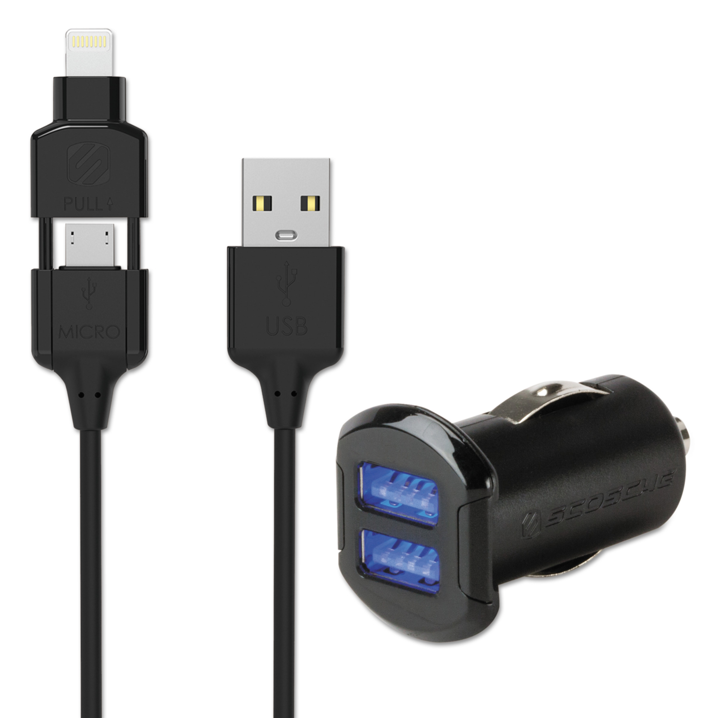 SCOSCHE I3MC242M Lightning and Micro-USB 2 in 1 Charge and Sync Cable with Dual 12W USB Car Charger