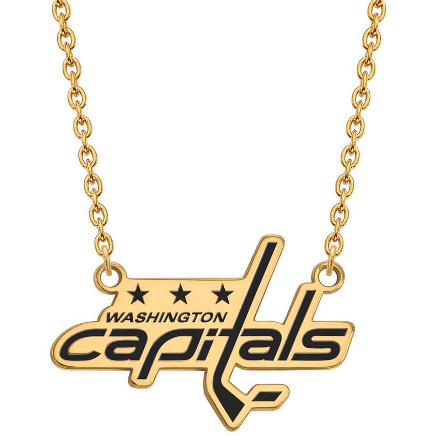 LogoArt NHL Washington Capitals 14kt Gold-Plated Sterling Silver Large Enameled Pendant with Necklace