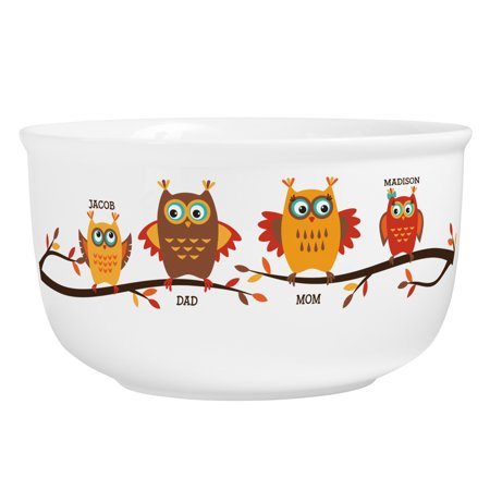 Personalized Owl Family Candy Bowl - Personalized Popcorn Bowl