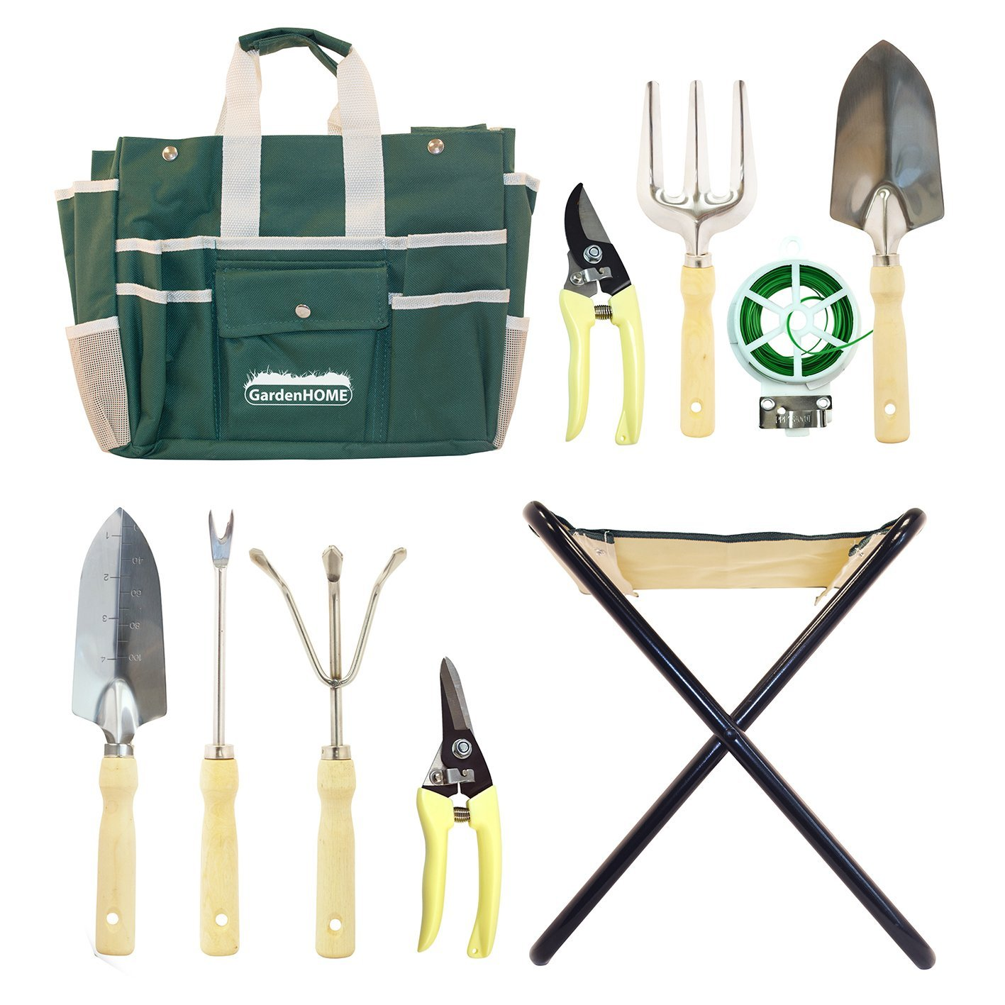 GardenHOME 10 Piece Garden Tool Set with Folding Stool and Heavy Duty Steel Tools included 2 pruning shears and a 20-meter plant twist tie are added