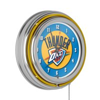 Oklahoma City Thunder NBA Chrome Double Ring Neon Clock