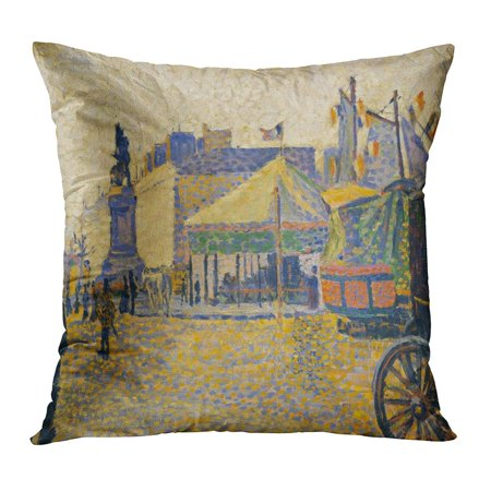 ECCOT Place De Clichy by Paul Signac 1887 French Post Impressionist Painting Oil on Wood at Age 18 When Pillowcase Pillow Cover Cushion Case 20x20