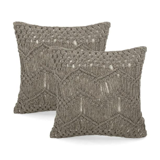 Isaiah Macrame Boho Throw Pillow Set Of 2 Brown Walmart Com Walmart Com