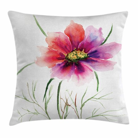 Watercolor Throw Pillow Cushion Cover, Beautiful Two Colored Flower Blossom Nature Spring Revival of Life, Decorative Square Accent Pillow Case, 16 X 16 Inches, Fuschia Red Dark Green, by Ambesonne ()