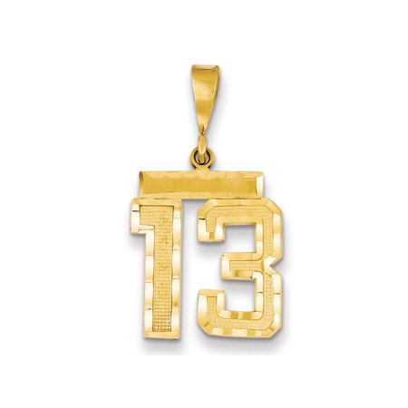 Solid 14k Yellow Gold Medium Diamond-Cut Number 13 Pendant (Gold Slide Charm)