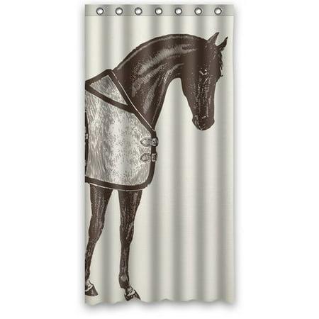 HelloDecor Ideas Horse Equestrian Shower Curtain Polyester Fabric Bathroom Decorative Curtain Size 36x72