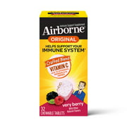 Airborne Very Berry Chewable Tablets, 32 count - 1000mg of Vitamin C - Immune Support Supplement
