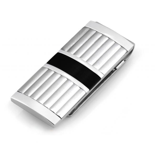 Legere Tmc-010 Stainless Steel Money Clip - Lea Columns With Black Steel Strip