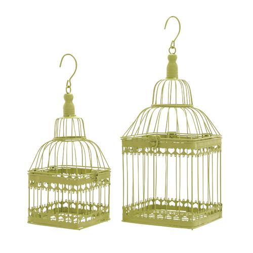 Woodland Imports 2 Piece Square Decorative Bird Cage