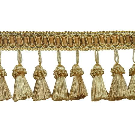 Elegant 3 Inch Long Vintage  Medium and light Gold Tassel Fringe - Golden Rays 4875 (Sold by The -