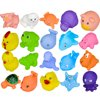 20 Pcs Baby Bath Time Fun Mini Animals Squeeze Squeakers and Squirters Rubber Bathtub Toys with Spoon Net