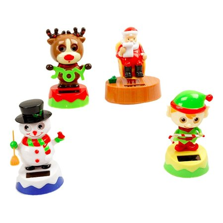 solar dancing holiday figures set of 4(santa, reindeer, elf, and snowman)