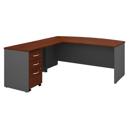 Bush Business Furniture SRC084HCSU 72 in. Series C Bow Front L-Shaped Desk with 48 in. Return & Mobile File Cabinet - Hansen Cherry Mahogany Kidney Shaped Desk