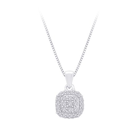 - Diamond Square Halo Pendant with Chain in 10K White Gold (1/3 cttw)