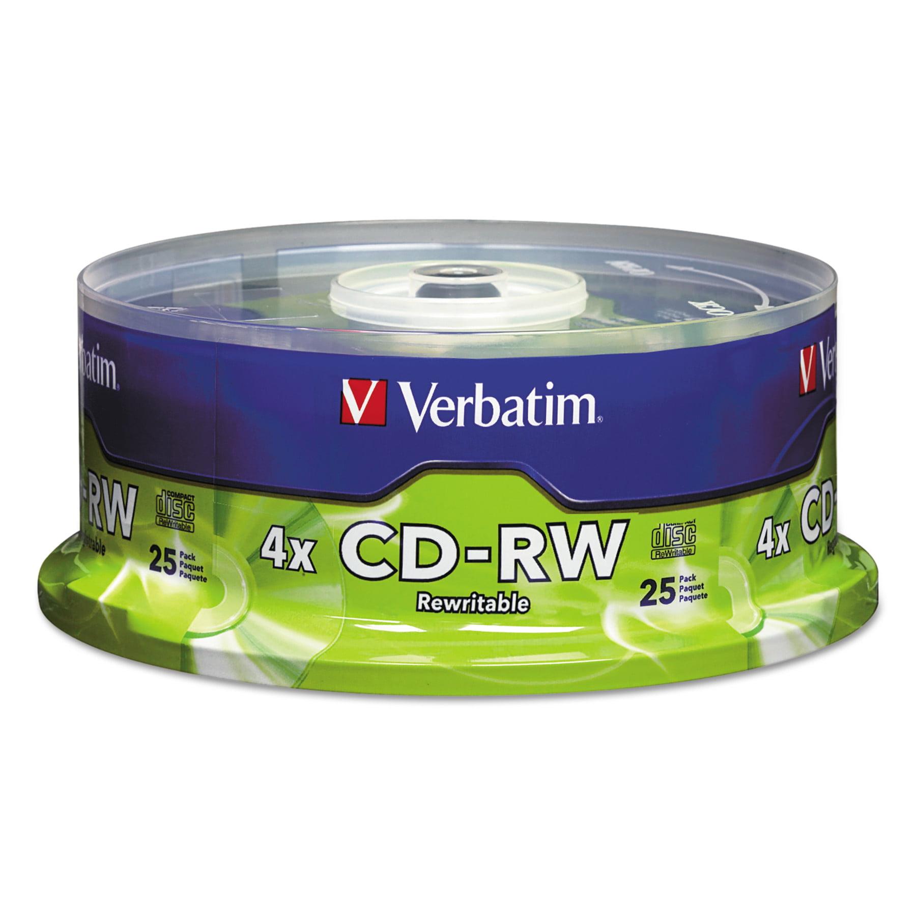 Verbatim CD-RW Discs, 700MB/80min, 4X, Spindle, Matte Silver, 25/Pack
