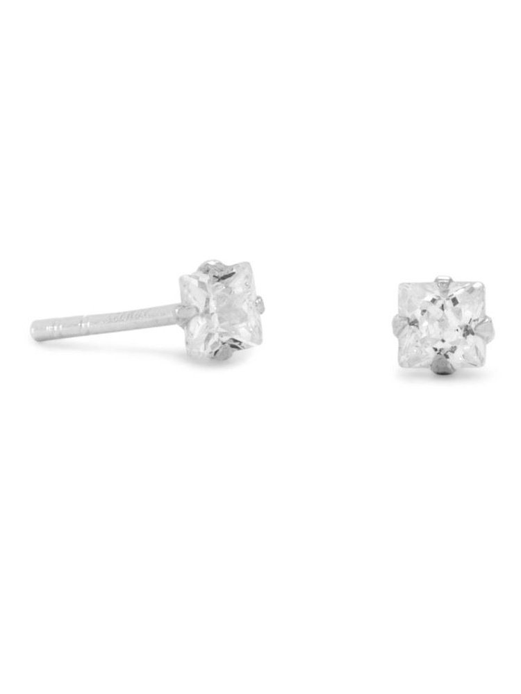 Square Basket Setting 3 Color Options Available .925 Sterling Silver Stud Earrings 3mm-10mm