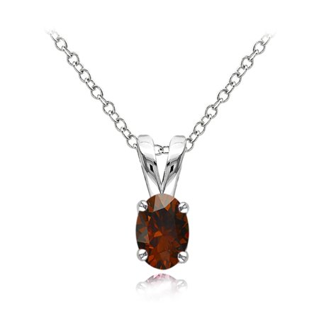 Sterling Silver Garnet 6x4mm Oval Solitaire