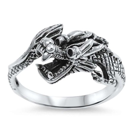Solid Dragon .925 Sterling Silver Ring Sizes 7-12 - Dragon Ring Jewelry