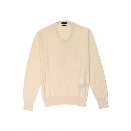 Tom Ford Mens Cashmere Silk Ivory Ribbed Henley - Silk And Cashmere Ribbed Cardigan
