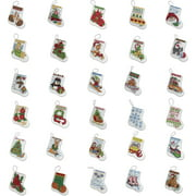 """Bucilla Counted Cross Stitch Ornament Kit by Plaid, More Tiny Stockings, Set of 30,   each approx. 2 1/2 """" x 3"""""""