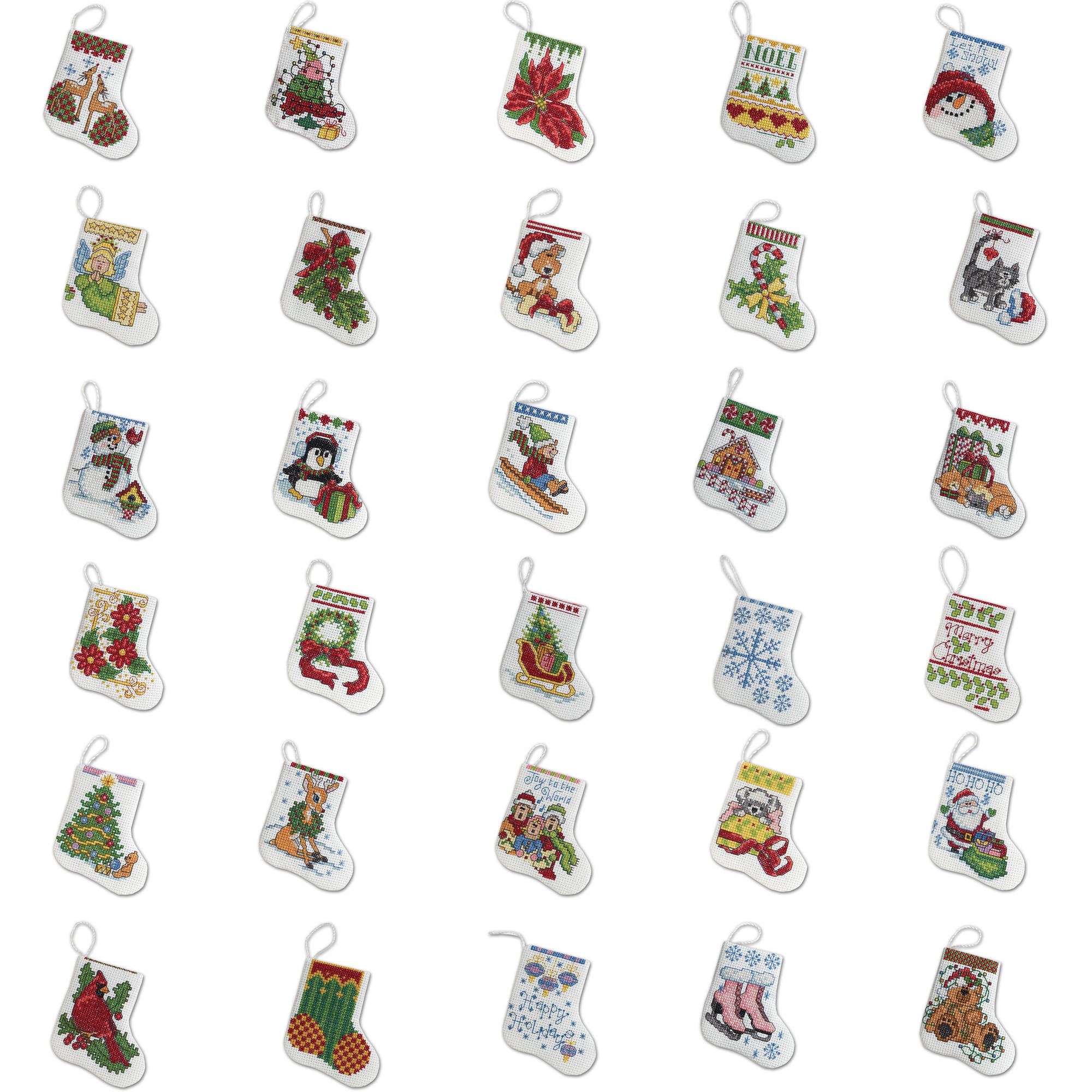 "Bucilla Counted Cross Stitch Ornament Kit by Plaid, More Tiny Stockings, Set of 30,   each approx. 2 1/2 "" x 3"""