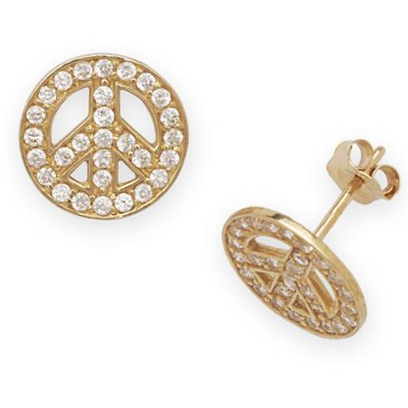 Curata 14k Yellow Gold Cubic Zirconia Peace Sign Earrings