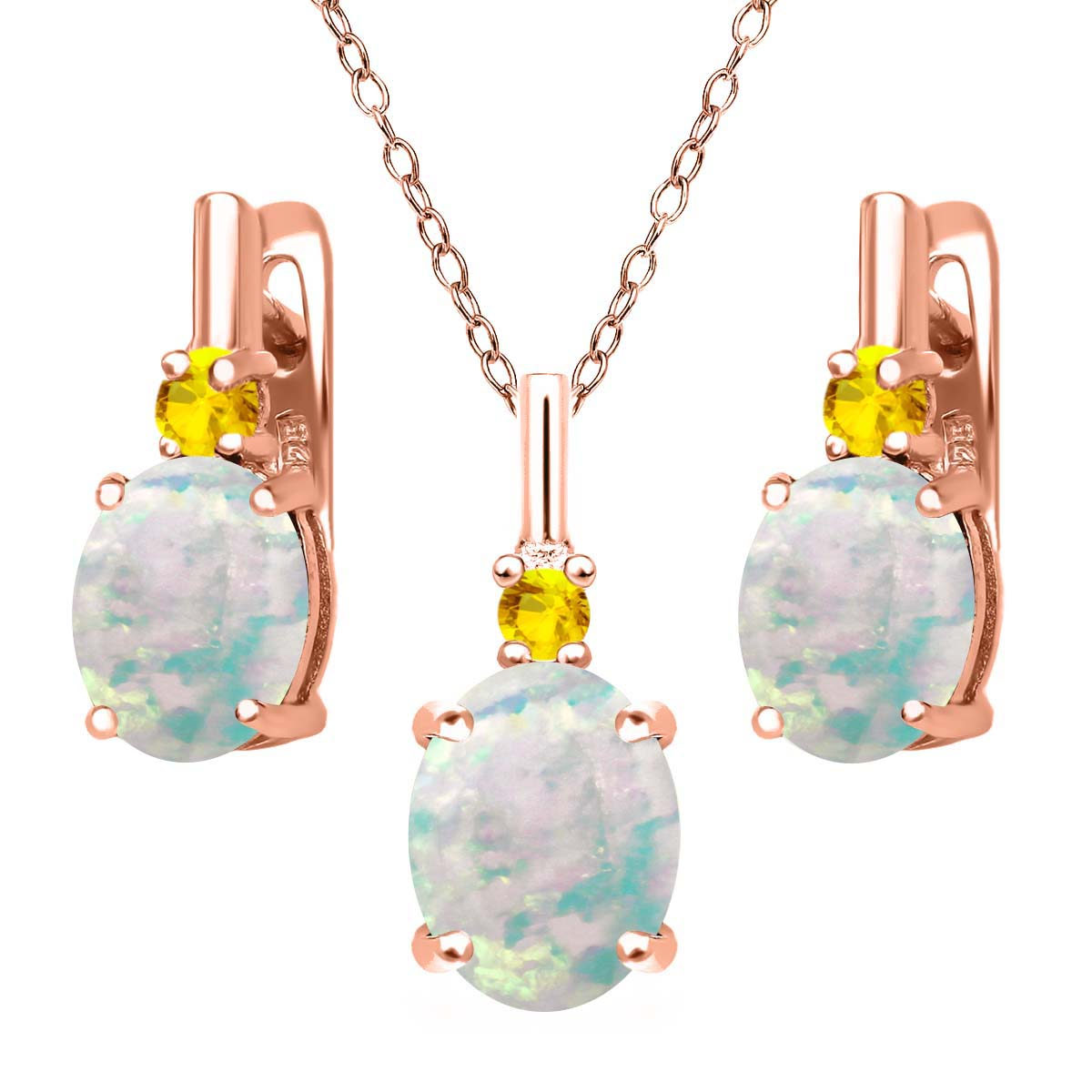4.89 Ct Simulated Opal Yellow Sapphire 18K Rose Gold Plated Silver Jewelry Set by
