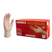 AMMEX Anti-Microbial Vinyl Latex-Free Industrial Gloves, Medium, Clear, 200/Box