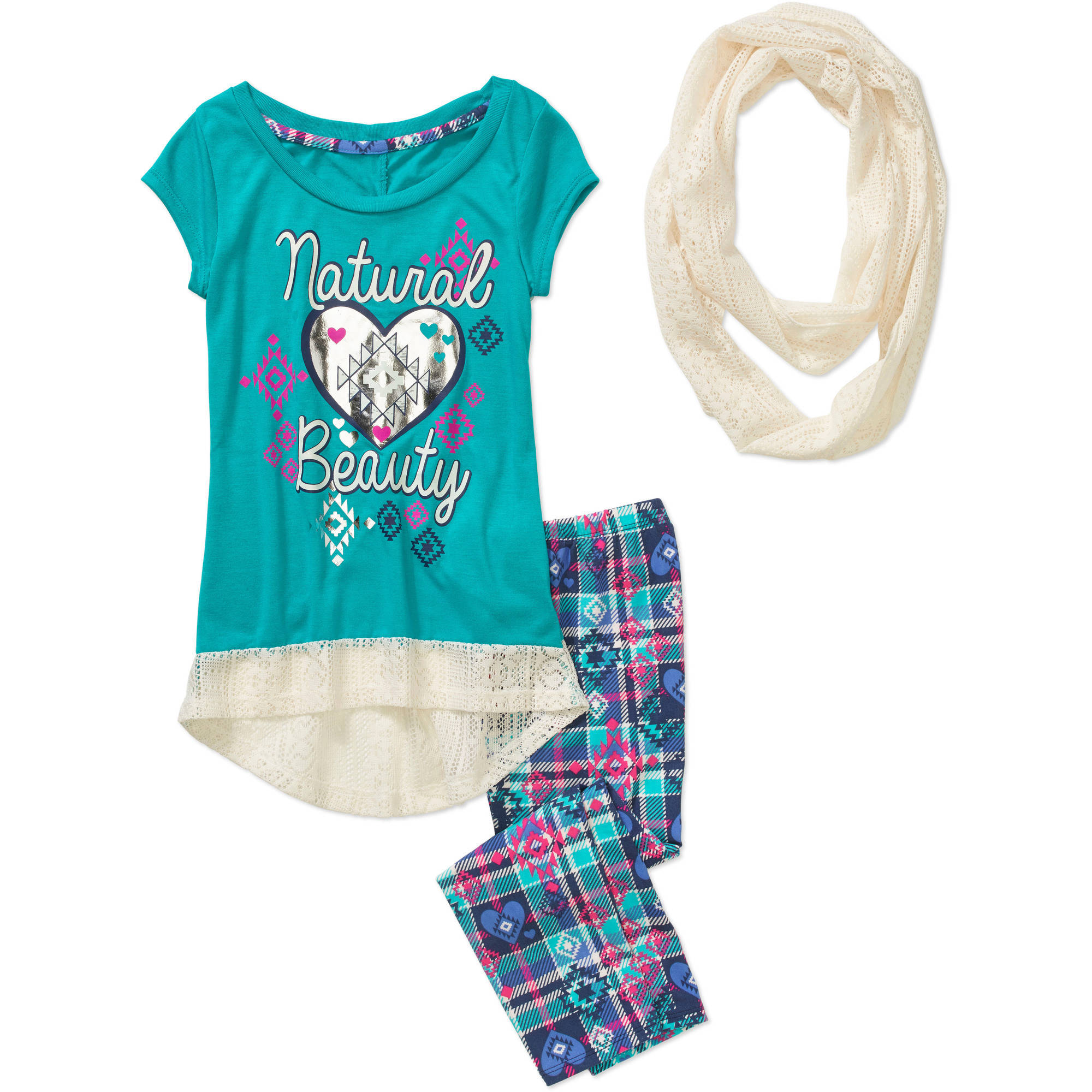 "One Step Up Girls' ""#THATScarfLIFE"" 3 Piece Short Sleeve Foil Screen Top with Crochet Hem, Printed Leggings and Crochet Infinity Scarf Set"