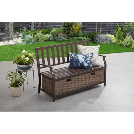 Better Homes & Gardens Camrose Farmhouse Outdoor Bench with Wicker Storage (Plastic Outdoor Storage Bench)