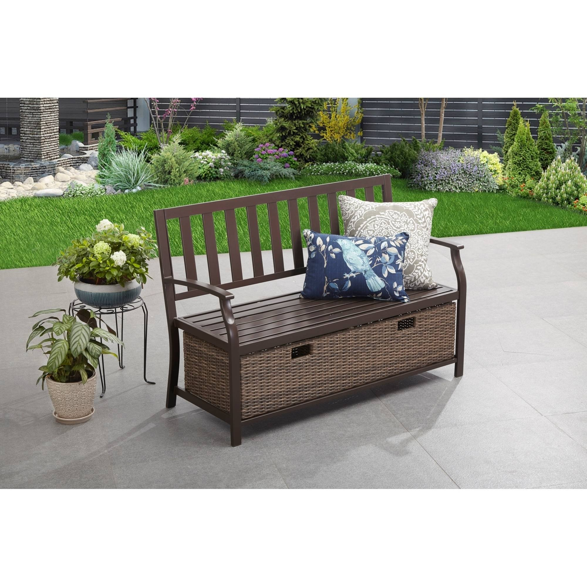 Better Homes U0026 Gardens Camrose Farmhouse Outdoor Bench With Wicker Storage  Box