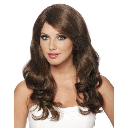 Long Brown Curly Wig Halloween (Sexy Natural Long Brown Curly Wavy Movie Star Adult Halloween)