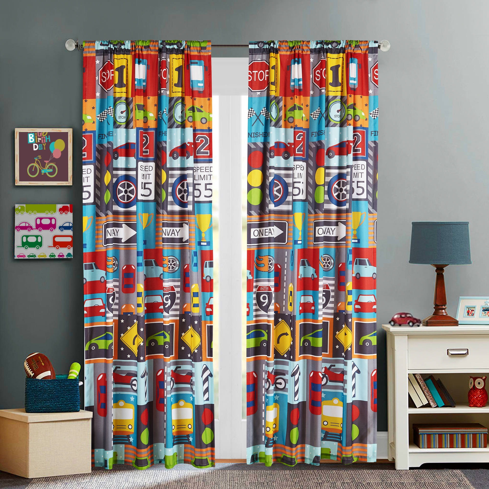 Mainstays Kids Busy Cars Boys Bedroom Curtain Panel by Idea Nuova