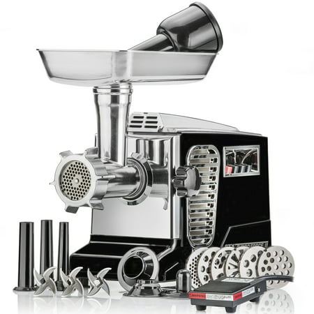 STX Turboforce II Black, Model STX-4000-TB2-PD-BL, Quad Air Cooling, Electric Meat Grinder; Sausage Stuffer with Foot Pedal - 6 Grinding Plates, 3 Cutting Blades, Kubbe Sausage Stuffing