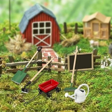 Cyan Cart (Meigar Metal Tin Watering Can, Pulling Cart & Fairy Garden Tools Dolls House Miniatures)