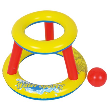RhinoMaster Play Inflatable Mini Splashketball Pool Game - Blow Up Basketball Hoop and Ball for Fun Water Sports