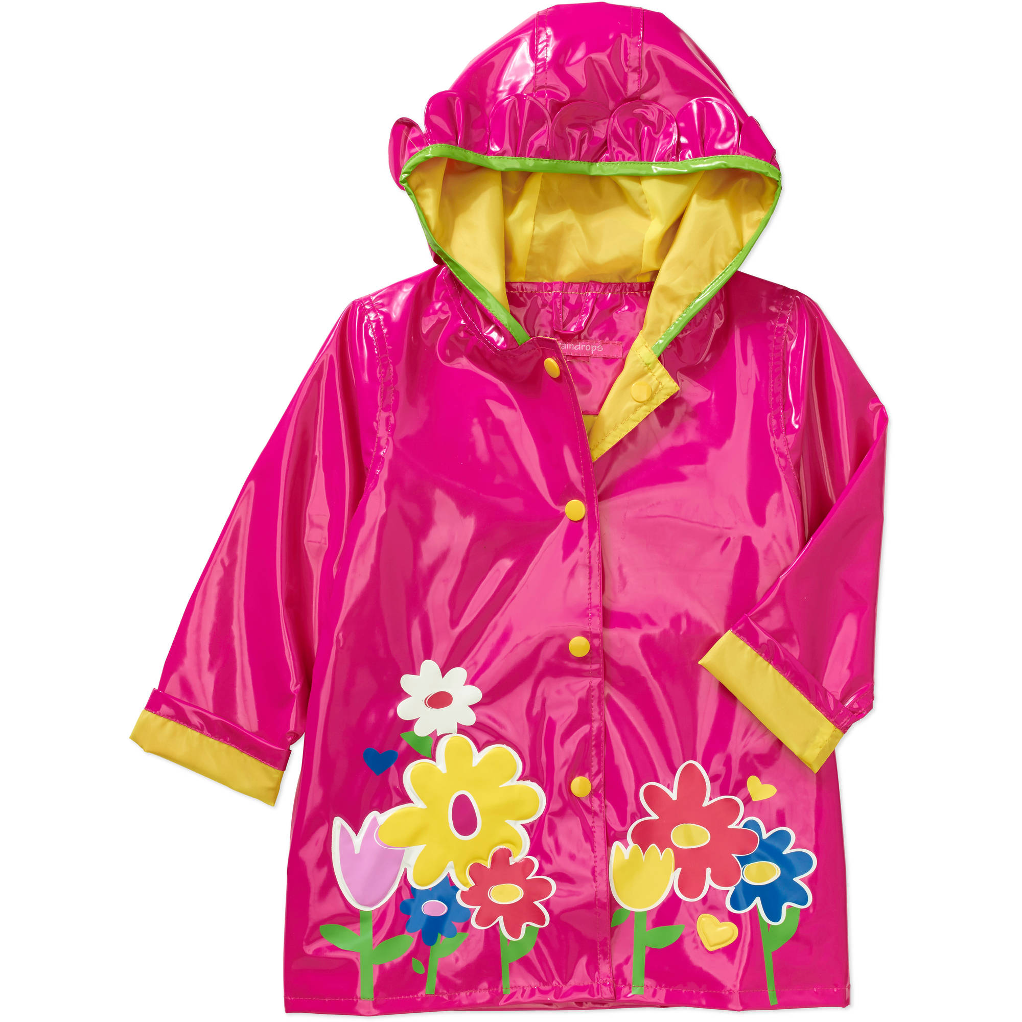Raindrops Toddler Girl Flower Rain Jacket