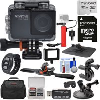 Vivitar DVR794HD 1080p HD Wi-Fi Waterproof Action Video Camera Camcorder (Black) with Remote, Helmet, Bike + Suction Cup Mounts + 32GB Card + Case + Power Bank Grip Kit