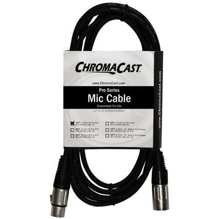 Pro Co Ameriquad Microphone Cable - ChromaCast Pro Series Mic Cable 10 Feet, Black, XLR/XLR Ends