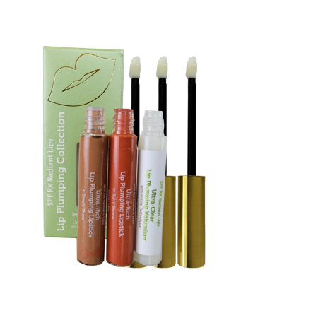 Hyaluronic Peptide Plumping Serum: In 2 Lip Plumping Lipstick Matte Colors (in Burnt Sienna & Simply There) Plus One Serum (Clear Lip Gloss) - 3pack (1 of each 0.17oz application wand bottles)