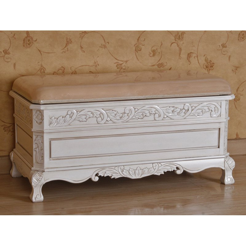 International Caravan Windsor Antique White Hand-Carved Wood Storage Bench