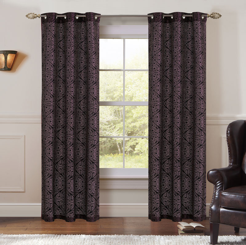 Pair of Perla Jacquard Window Curtain Panels w/Grommets