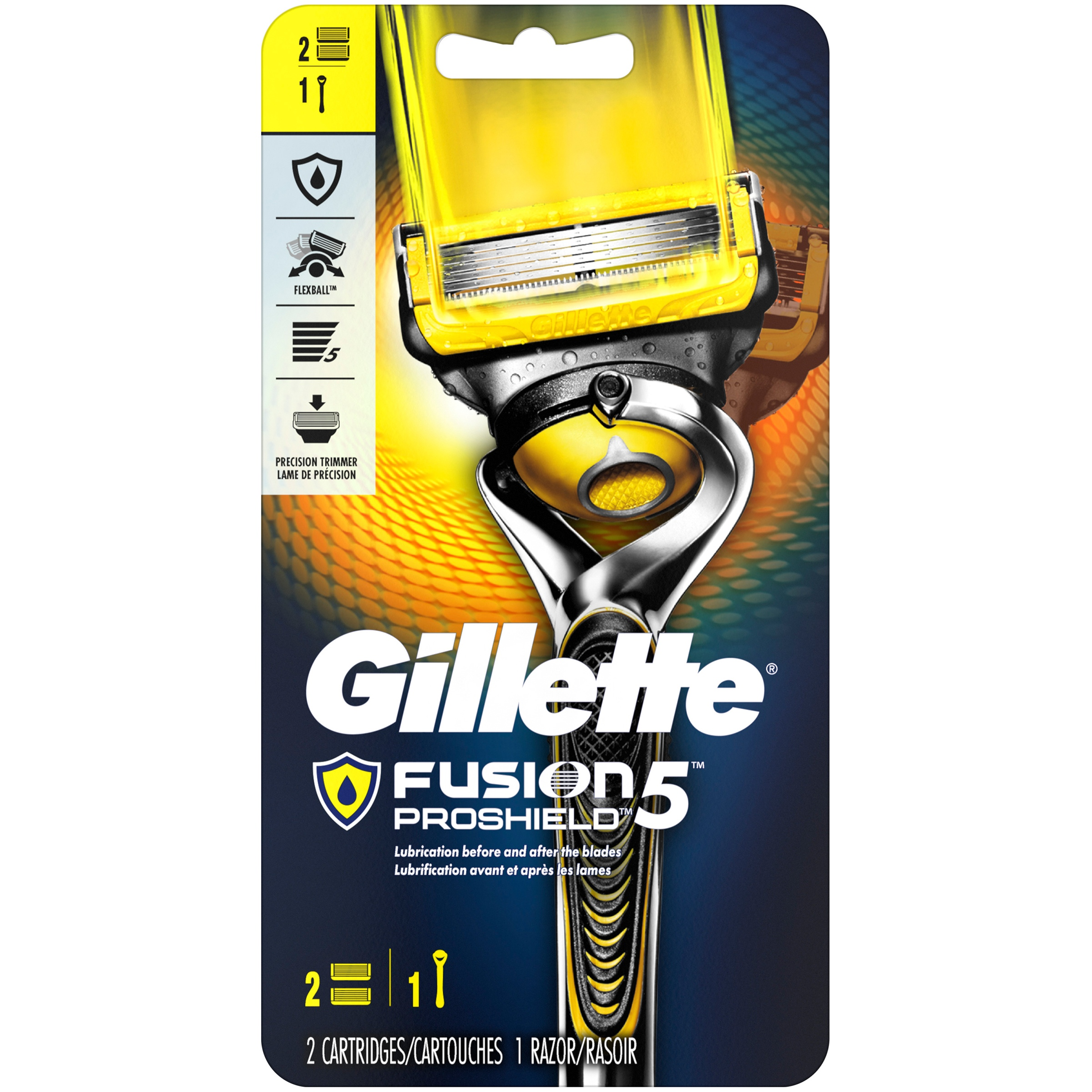 Gillette Fusion5 ProShield Mens Razor, Handle & 2 Blade Refills