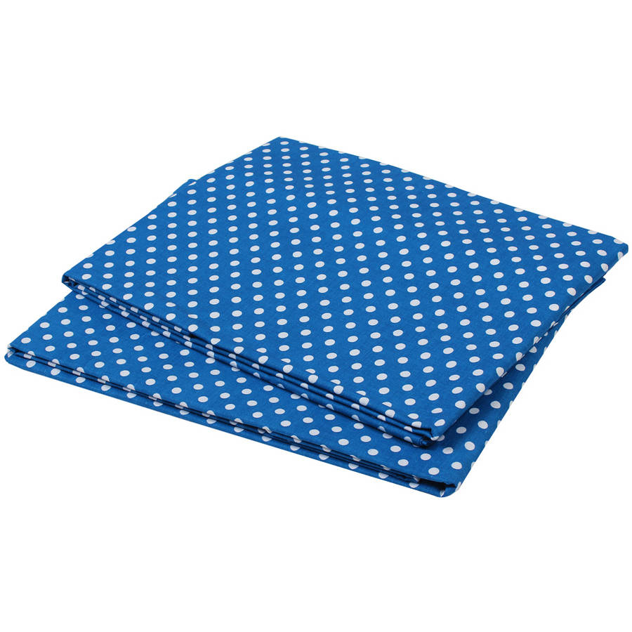 Bacati  -  MixNMatch Pin Dots Crib / Toddler Bed Sheets 100% Cotton Percale, Snorkel Blue, 2 - Pack