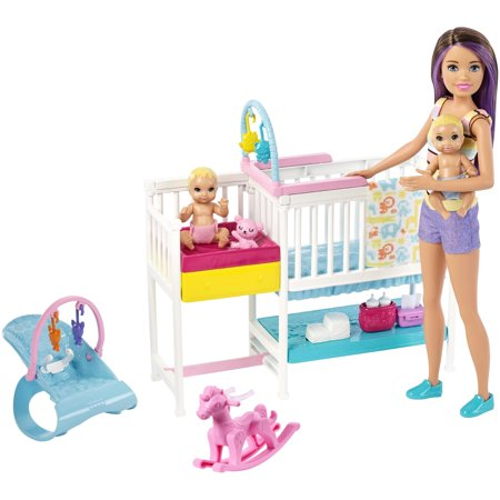 Barbie Skipper Babysitters Inc. Nap 'n Nurture Nursery Dolls Playset