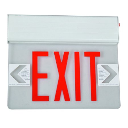 Lit Glass Panel - Surface Mount Edge Lit LED Exit Signs Red on Clear Panel White Housing