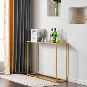 Ktaxon Entry Way Console Table Sturdy Metal Frame Sofa Table with Scratch-Resistant & Water-Resistant Faux Marble Top