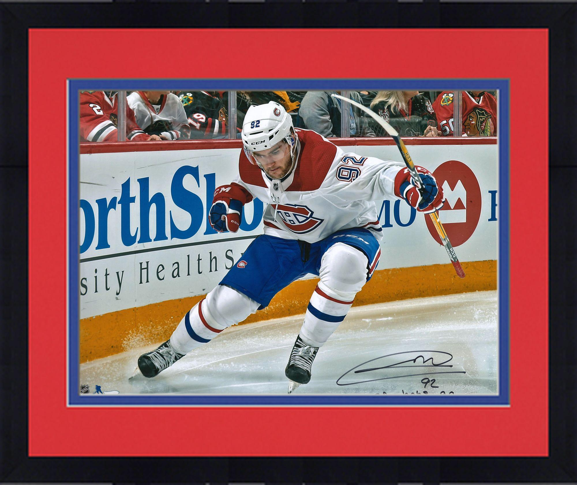 "Framed Jonathan Drouin Montreal Canadiens Autographed 16"" x 20"" Red Jersey Skating Photograph with Go Habs Go!... by Fanatics Authentic"